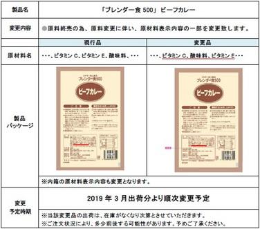 「「ブレンダー食500」 ビーフカレー 原材料表示一部変更のご案内」の関連画像